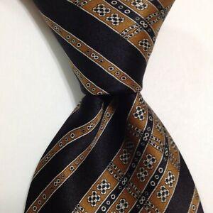 STEFANO RICCI Men's 100% Silk Necktie ITALY Luxury STRIPED Brown/Black/Gray EUC