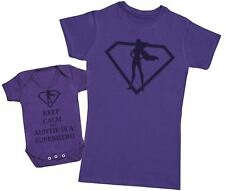 Keep Calm My Auntie Is A Superhero Matching Mother Baby Gift Set - Womens T Shir