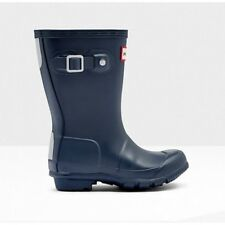 Hunter Original Kids Junior Navy Rubber Wellingtons BOOTS 13 UK Child / 32 EU