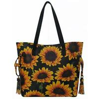 New Handmade Gold Finch Bird Sunflowers Large Denim Tote Bag