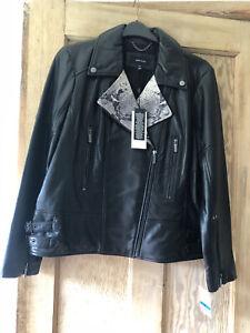 KAREN MILLEN Black Leather Biker Jacket with Snakeskin Detail Size 16/18 XL BNWT