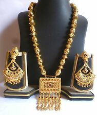 22K Gold Plated Indian Ball Bead Necklace Square Pendant Meenakari Earrings Set