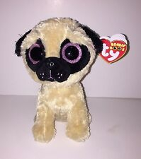 TY PUGSLY BEANIE BOOS IN CELLO-NEW, RED MINT TAG, RETIRED-VERSION W/GLITTER EYES