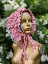 Whimsical And Romantic One Of A Kind 1920'S Polished Cotton Bonnet / Hat