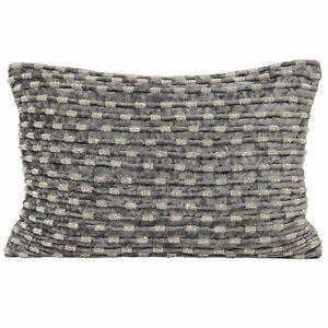 Paoletti 'Souk' Beaded Embellished Rectangular Cushion Cover - Grey (35 x 50 cm)
