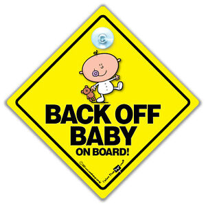 Back Off Baby On Board Sign, Baby on Board Car Sign With Suction Cup Car Sign