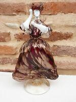 Statue femme danseuse venitienne en verre de Murano inclusion d'or ref 433