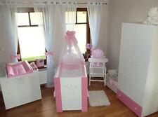 Krone Rosa komplett Set Babybett Kinderbett  Wickelkommode & Schrank Babyzimmer
