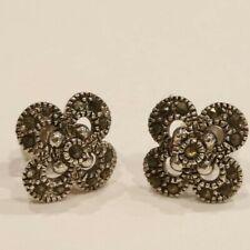 "New Lovely ! 3/4"" Silver Tone Marcasite Flower Stud Earrings w/ Butterfly Clasp"