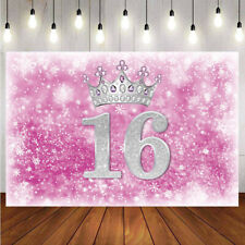 16th Birthday Party Girls Photography Backdrop Pink Princess Photo Background