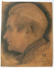 Hermoso DIBUJO Antiguo carbón de leña Retrato Hombre Perfil KOK Firmado Envío