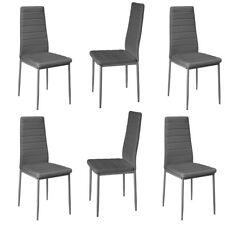 6x Grey Modern Leather Chairs High Back Padded Ribbed Line Metal Home &Office PU