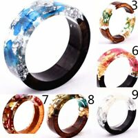 Unique Wooden Resin Ring Flowers Plants Inside Handmade DIY Jewelry Size 6-9