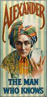 1915 Alexander The Man Who Knows Magic Show Poster Magician Mental Advertisement