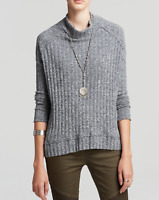FREE PEOPLE GRAY BLUE RIBBED MOCK NECK LONG SLEEVE CLARISSA'S  TOP SWEATER Sz L
