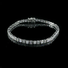 "7.50ct D/VSS1 Princess Round Cut Diamond 14K White Gold Over 8"" Tennis Bracelet"
