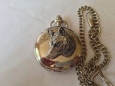 A66 Wolf Head  polished silver case mens GIFT quartz pocket watch fob