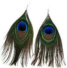 "Genuine Natural Peacock Feather 5.5"" Long Pierced Earrings Hook Fastener NEW"