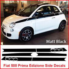 Fiat 500 Prima Edizione Side Racing Stripes Decals Sticker Graphics Matt Black
