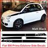Fiat 500 Upper Body Line Side Racing Stripes Vinyl Decals Graphics Matt Black