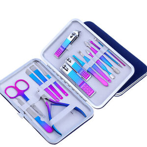 15 PCS Pedicure / Manicure Set Nail Clippers Cleaner Cuticle Grooming Kit Case