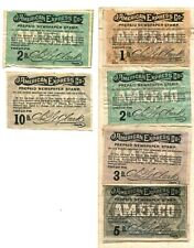 Vtg. AMERICAN EXPRESS PREPAID NEWSPAPER STAMP Lot of 6 - 1, (2) 2, 3, 5, 10 LBS.