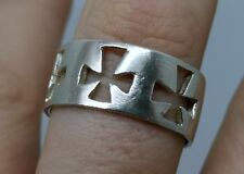 Sterling Silver Large Christian Cross Band Ring size X