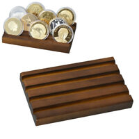 WR Indeep 4 Rows Challenge Coins Display Case Coins Collection Rack Stand Wooden