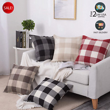 1 Pair Buffalo Check Pillow Cover Cotton Line Plaid Throw Cushion Cover 45*45CM