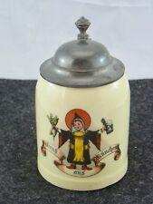 """schöner kleiner Humpen Keramik Zinndeckel """"München"""" ca.20er Jahre"""