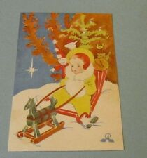 1931 Czechoslovakia Colorful Christmas Postcard Rocking Horse Clown Animals Girl