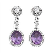Amethyst & Cz Chandelier Drop  .925 Sterling Silver Earrings