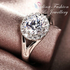 18K White Gold Plated Made With Swarovski Element Studded Split Band Halo Ring
