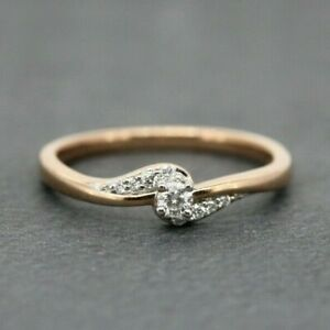 9ct Rose Gold 0.15ct Diamond Cluster Ring Size P, US 7 1/2