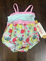 Cat & Jack Baby Girls Fruit Print One Piece Swimsuit Size 3-6 Monnths NWT