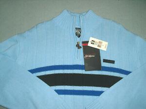 NEW NWT Southpole 1/4 Zip Sweater Men's Mock Neck Ribbed Knit Stripes Sz XL blue