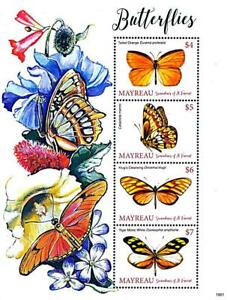 👉 ST.VINCENT/MAYREAU = BUTTERFLIES // INSECTS M/S MNH **