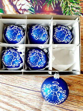 6 Hand Painted  Glass Bauble Christmas Tree Decorations ,high quality,good price