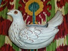 WHITE DOVE POTTERY VASE Flower PLANTER POTTERY BIRD