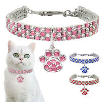 Rhinestone Cat Dog Collar Puppy Necklace Small Dogs Cats Collars Pet Paw Pendant