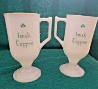 Set 2 Vtg Glass Classic Irish Coffee Pedestal Mugs Gold Rim Green Shamrock