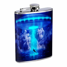 Space Whale Em1 Flask 8oz Stainless Steel Hip Drinking Whiskey