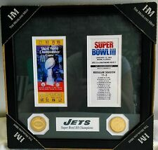 HIGHLAND MINT NEW YORK JETS SUPER BOWL TICKET COLLECTION WALL FRAME NEW