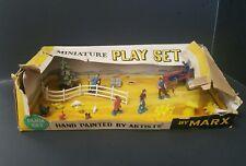 Vintage 1950s Marx Miniature Play Farm Set w/ Hand Painted Figures HO Train