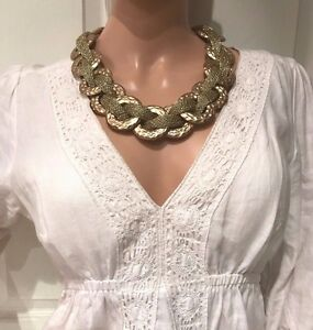 Beautiful Chunky Gold Fashion Statement Necklace for Day or Night Wear NEW!!