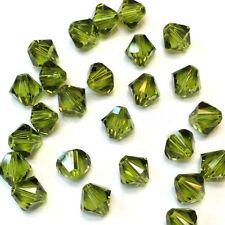100pcs green tea exquisite 4MM 5301#glitter Crystals luster delicateness Bicone!