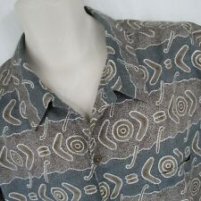 Patagonia Organic Cotton XL Camp Shirt Boomerang Target Blue Beige Button Front