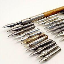SCHULER BRAUSE 27 nibs LOT calligraphy dip ink pen Vintage 1940's antique 5