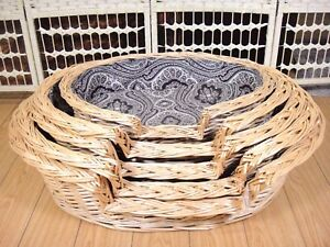 Rattan Willow Wooden Woven Cane Pets Bed Dog Cat Animal Nesting Basket House AU