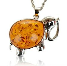 """Faux Orange Amber White Gold Plated Elephant 2"""" Pendant + 21"""" Chain Necklace"""